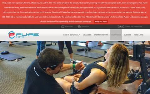 Screenshot of Services Page pureaustin.com - Coaching + Training - Pure Austin Fitness - captured Sept. 22, 2018