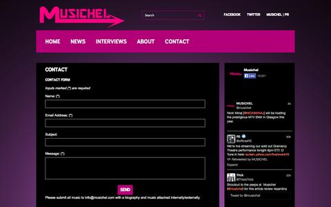 Screenshot of Contact Page musichel.com - Contact | Musichel - captured Sept. 30, 2014