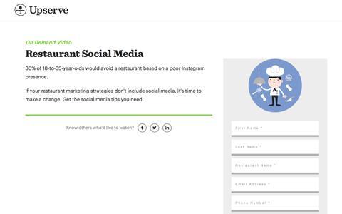 Screenshot of Landing Page upserve.com - Restaurant Social Media Tips On Demand   Upserve - captured Sept. 13, 2017