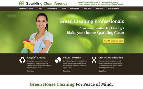 Screenshot of Home Page sparklingcleanagency.com - Apartment Cleaning Services San Francisco |Sparkling Clean Agency - captured Sept. 21, 2018
