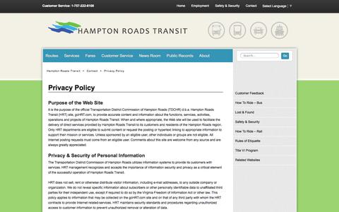 Screenshot of Privacy Page gohrt.com - Privacy Policy - Hampton Roads Transit - Our mission is to serve the community through high quality, safe, efficient and sustainable regional transportation services. - captured Oct. 1, 2014