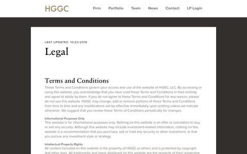 Screenshot of Terms Page hggc.com - Legal | HGGC - captured Sept. 25, 2018