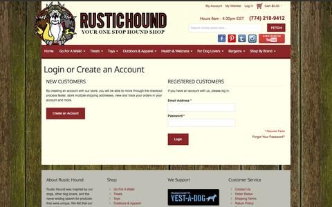 Screenshot of Login Page rustichound.com - RusticHound - Dog Leashes, Harnesses, Toys and more - captured Sept. 30, 2014