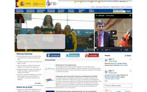 Screenshot of Home Page deporte.es - Portal del Consejo Superior de Deportes —             Portal del Consejo Superior de Deportes - captured Jan. 27, 2015