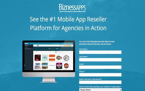 Screenshot of Landing Page biznessapps.com - Mobile App Reseller Platform For Agencies | Product Demo - captured March 2, 2018