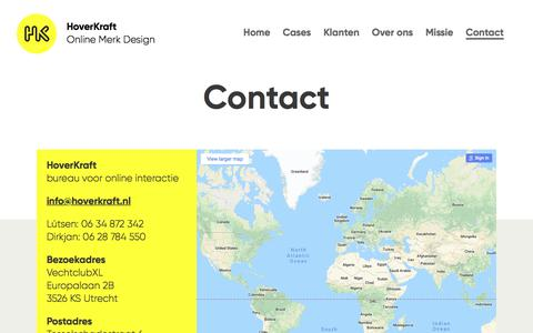 Screenshot of Contact Page hoverkraft.nl - Contact | HoverKraft.nl - captured July 23, 2018