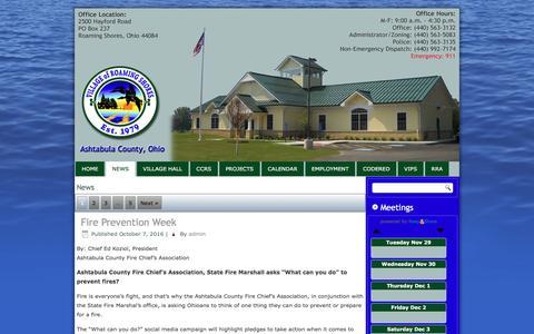 Screenshot of Press Page roamingshoresoh.gov - News – Village of Roaming Shores - captured Nov. 29, 2016
