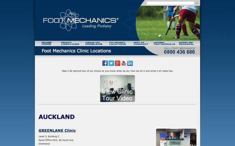 Screenshot of Locations Page footmechanicspodiatry.co.nz - Foot Mechanics Podiatry Clinics NZ - captured Oct. 6, 2014