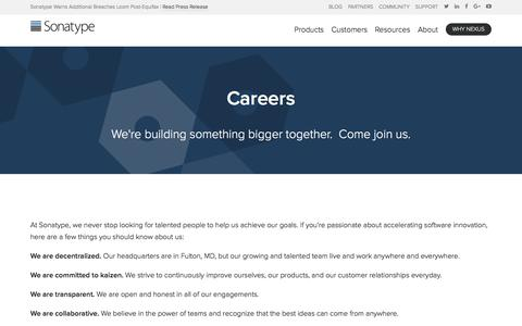 Screenshot of Jobs Page sonatype.com - Careers | Sonatype - captured Sept. 20, 2017