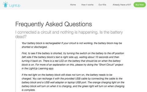 Screenshot of FAQ Page lightup.io - FAQ — LightUp - captured July 3, 2016