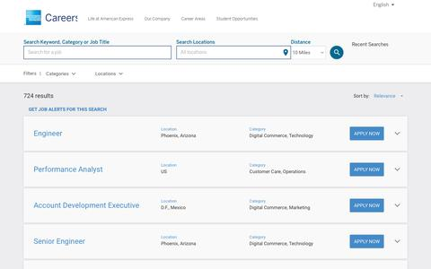 Screenshot of Jobs Page americanexpress.com - American Express Job Search - Jobs - captured Oct. 26, 2016