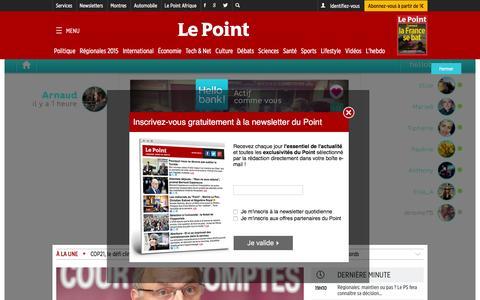 Screenshot of Home Page lepoint.fr - Le Point Đ ActualitŽ Politique, Monde, France, ƒconomie, High-Tech, Culture - captured Dec. 2, 2015