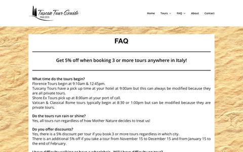 Screenshot of FAQ Page tuscantourguide.com - FAQ - Tuscan Tour Guide - captured Oct. 20, 2018