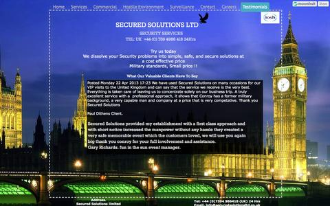 Screenshot of Testimonials Page securedsolutionsltd.co.uk - Testimonials - Secured Solutions Limited - captured Oct. 9, 2014