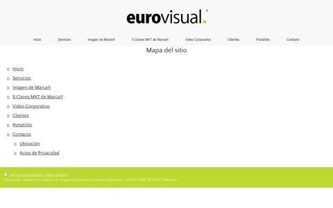 Screenshot of Site Map Page eurovisual.mx - Eurovisual | Imagen Corporativa | Branding | Video Corporativo | Fotografía - captured July 15, 2018