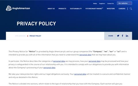 Screenshot of Privacy Page angloamerican.com - Privacy policy – Anglo American - captured July 13, 2019