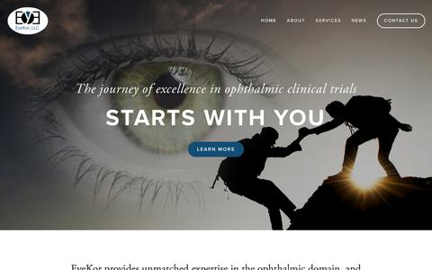 Screenshot of Home Page eyekor.com - EyeKor - Ophthalmic Clinical Trial Management - captured Feb. 1, 2016