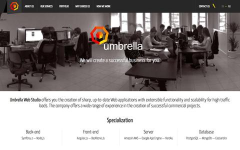 Screenshot of Home Page umbrella-web.com - Umbrella Web Studio offers you the creation of sharp, up-to-date Web applications with extensible functionality and scalability for high traffic loads. - captured Sept. 19, 2014