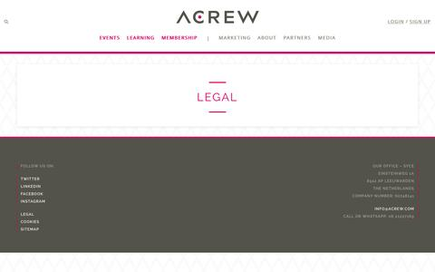 Screenshot of Terms Page acrew.com - Legal - ACREW - captured May 28, 2017