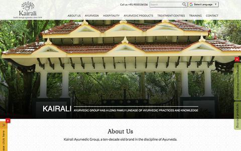 Screenshot of About Page kairali.com - Kairali Ayurvedic Group | Ayurveda brand | Partnerships & Investment - captured Sept. 22, 2018
