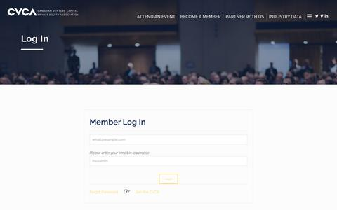 Screenshot of Login Page cvca.ca - Log In – Canadian Venture Capital and Private Equity Association - captured Oct. 19, 2018