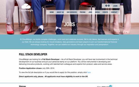 Screenshot of Jobs Page cloudmargin.com - Jobs | CloudMargin - captured July 14, 2016