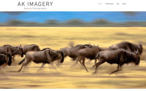 Screenshot of Home Page akimagery.com - AK Imagery | Nature Photography by Aravind Krishnaswamy - captured July 28, 2018
