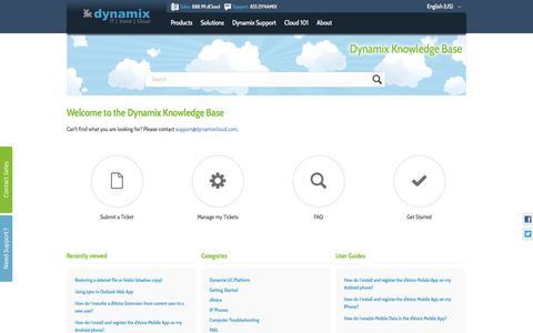 Screenshot of FAQ Page Support Page zendesk.com - Dynamix - captured Nov. 23, 2016