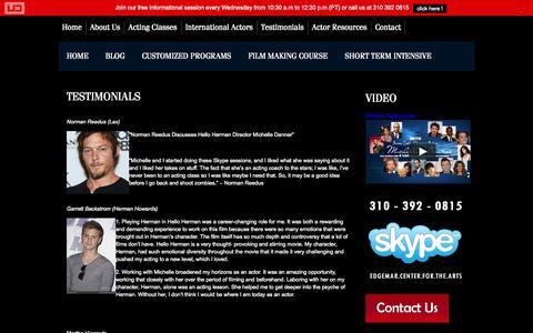 Screenshot of Testimonials Page michelledanner.com - Testimonials | Los Angeles Acting Class | Acting Coach Michelle Danner - Acting Classes - captured Nov. 3, 2014