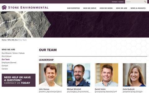 Screenshot of Team Page stone-env.com - Our Team - captured Nov. 18, 2018