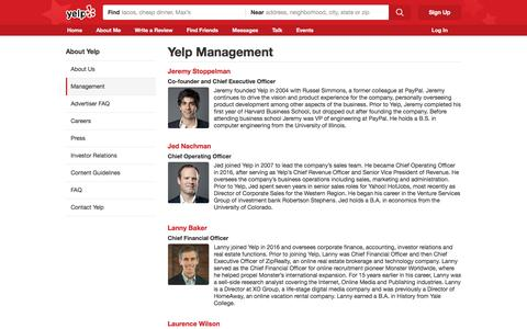Screenshot of Team Page yelp.com - Management | Yelp - captured Dec. 26, 2016