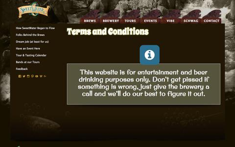 Screenshot of Terms Page sweetwaterbrew.com - Terms and Conditions   SweetWater Brewing Company   Don't Float the Mainstream - captured May 9, 2017