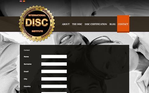 Screenshot of Contact Page interdisc.org - Contact - captured April 5, 2016