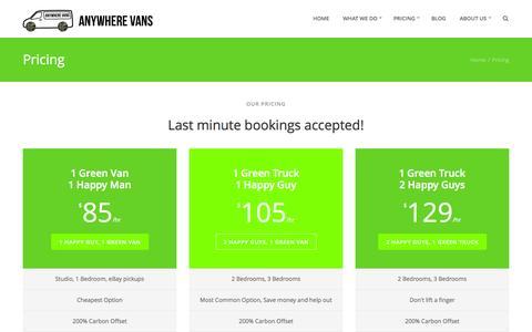 Screenshot of FAQ Page Pricing Page anywherevans.com.au - Anywhere Vans - Pricing - captured Sept. 30, 2014