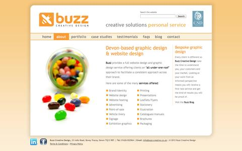 Screenshot of About Page buzz-creative.co.uk - About us - web design & graphic design Newton Abbot - captured Oct. 5, 2014