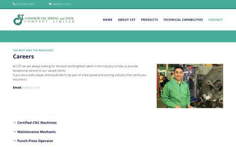 Screenshot of Jobs Page commercialspring.com - Careers - Commercial Spring & Tool Company - captured Nov. 9, 2016