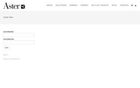 Screenshot of Login Page astercucine.it - Aster | Reserved Area - captured Nov. 21, 2016