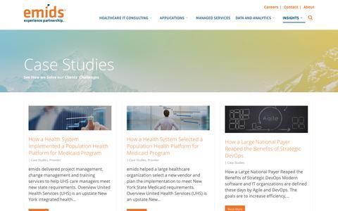 Screenshot of Case Studies Page emids.com - Case Studies | emids Technologies - captured Nov. 14, 2018