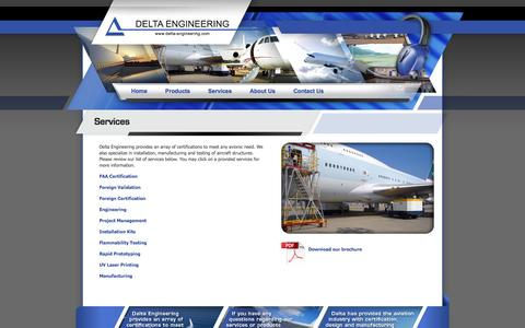 Screenshot of Services Page delta-engineering.com - Delta Engineering - Specializing in FAA Certifications - captured Oct. 5, 2014