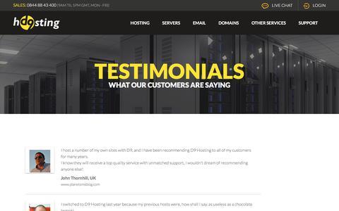 Screenshot of Testimonials Page d9.hosting - Customer Testimonials | D9 Hosting - captured July 4, 2018