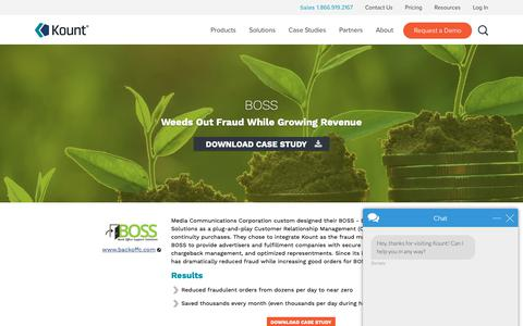 Screenshot of Case Studies Page kount.com - BOSS Weeds Out Fraud While Growing Revenue | Kount - captured June 10, 2019