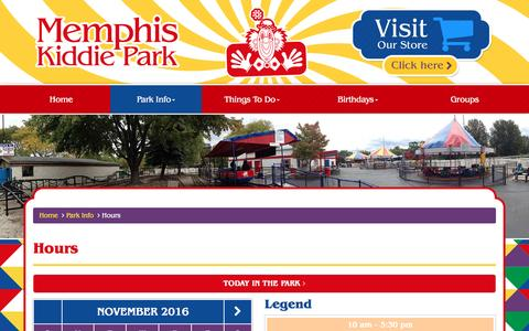 Screenshot of Hours Page memphiskiddiepark.com - November 2016 Park Hours | Memphis Kiddie Park | Cleveland Area Family Amusement Park | Rides, Mini Golf, Arcade & More | Brooklyn, OH - captured Nov. 28, 2016