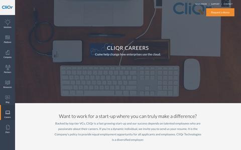 Screenshot of Jobs Page cliqr.com - Careers - captured Jan. 28, 2016