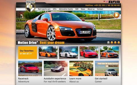 Screenshot of Home Page motion-drive-rental.com - Exklusive Sportwagen mieten - Motion Drive® - captured Oct. 9, 2014
