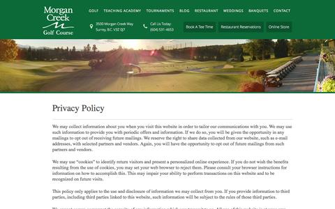 Screenshot of Privacy Page morgancreekgolf.com - Privacy Policy - captured Feb. 18, 2016