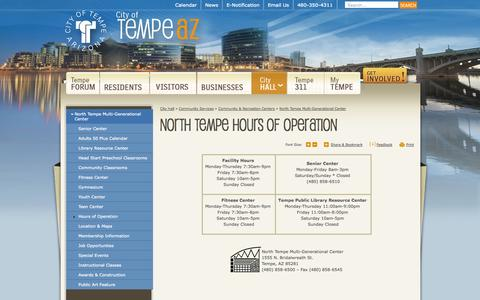 Screenshot of Hours Page tempe.gov - City of Tempe, AZ : Hours of Operation - captured Oct. 31, 2014