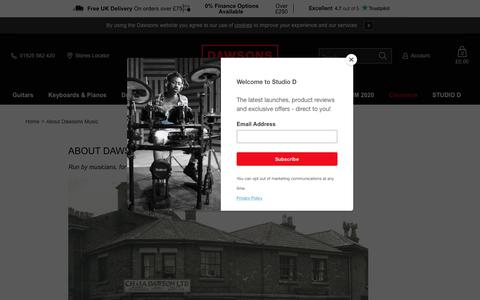 Screenshot of About Page dawsons.co.uk - About Dawsons Music | Dawsons Music - captured Feb. 22, 2020