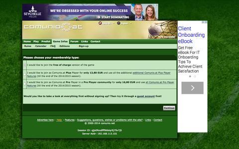 Screenshot of Signup Page comunio.at - COMUNIO football manager, soccer manager, fantasy football, tipico Bundesliga manager - captured Nov. 4, 2014