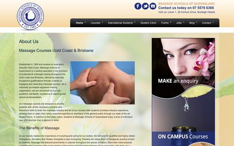 Screenshot of About Page massageschools.com.au - About Us | Massage Schools of Queensland - captured Feb. 12, 2016