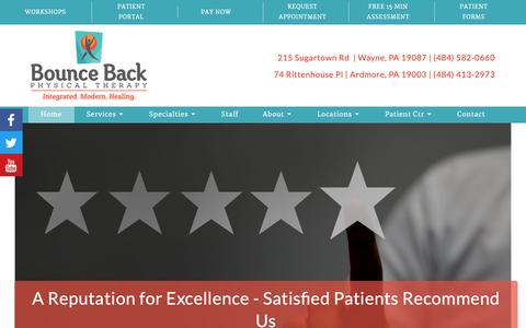 Screenshot of Home Page bouncebackpt.com - Home - Bounce Back Physical Therapy - Wayne and Ardmore PA - captured Oct. 6, 2018